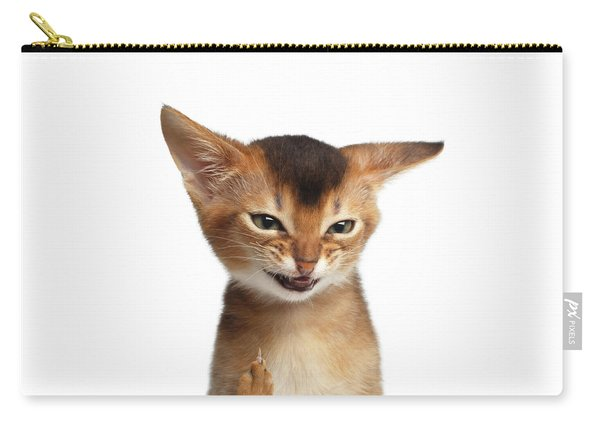 Carry-all Pouch featuring the photograph Portrait Of Kitten With Showing Middle Finger by Sergey Taran