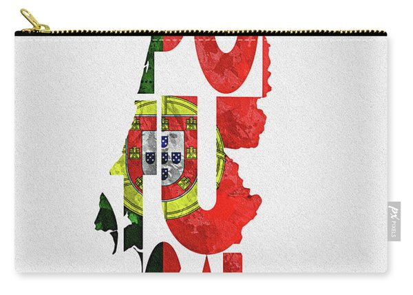Portugal Typographic Map Flag Carry-all Pouch