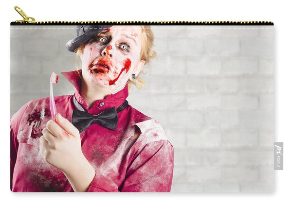 Possessed Girl With Bloody Toothbrush. Gum Disease Carry-all Pouch
