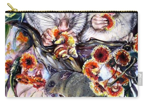 Carry-all Pouch featuring the painting Possum Family by Ryn Shell