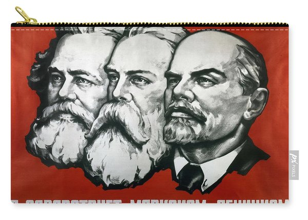 Poster Depicting Karl Marx Friedrich Engels And Lenin Carry-all Pouch