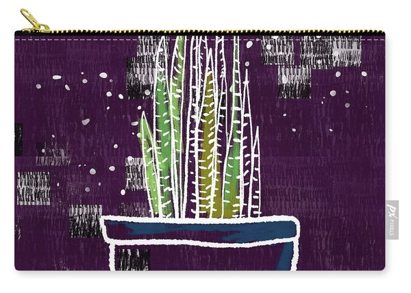 Potted Snake Plant- Art By Linda Woods Carry-all Pouch