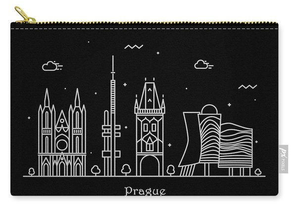 Prague Skyline Travel Poster Carry-all Pouch