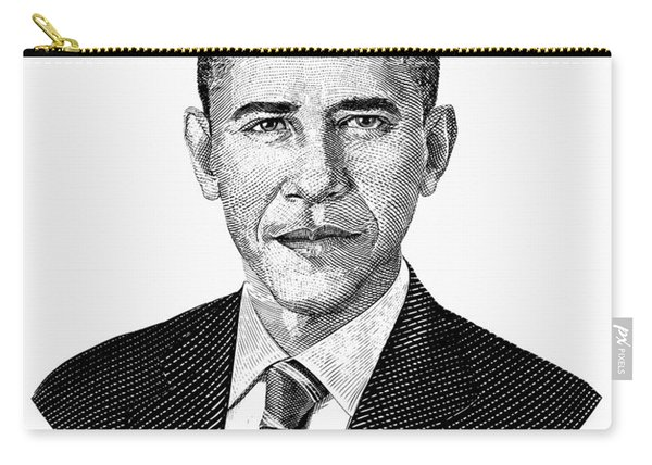 President Barack Obama Graphic Black And White Carry-all Pouch