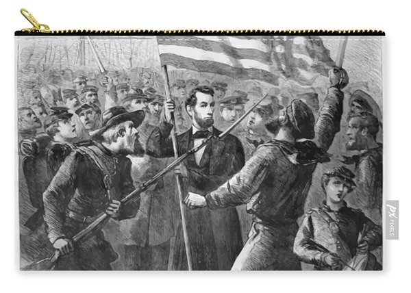 President Lincoln Holding The American Flag Carry-all Pouch