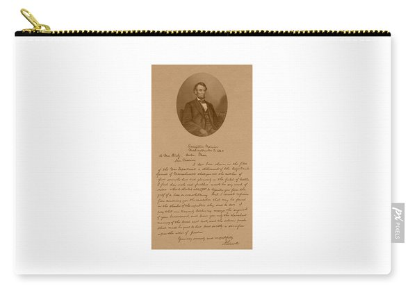President Lincoln's Letter To Mrs. Bixby Carry-all Pouch