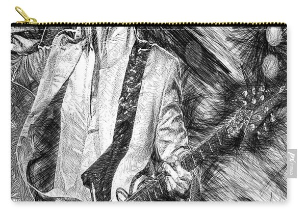 Prince - Tribute With Guitar In Black And White Carry-all Pouch