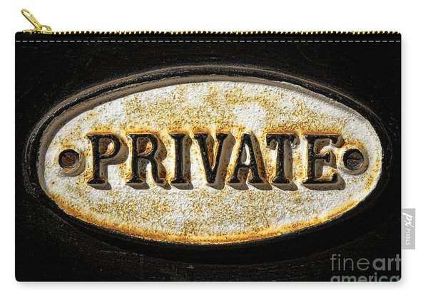Private Warning Embossed Sign Plaque On Front Door Carry-all Pouch