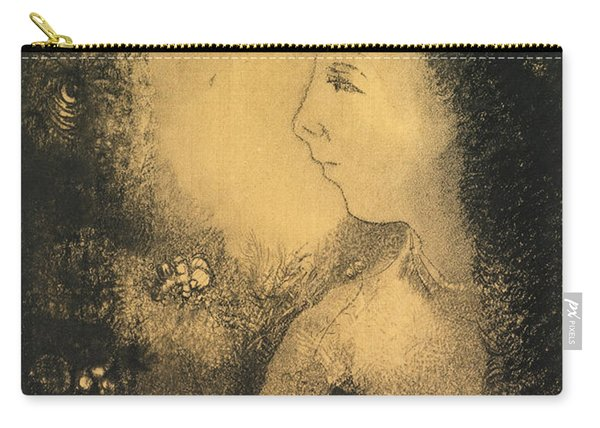 Profile Of A Woman With Flowers Carry-all Pouch