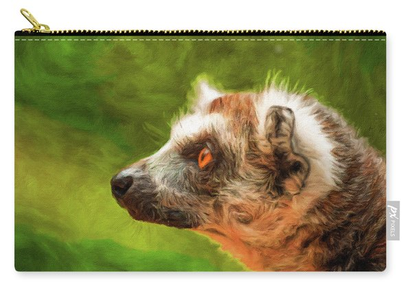 Profile Portrait Of Ring-tailed Lemur Carry-all Pouch