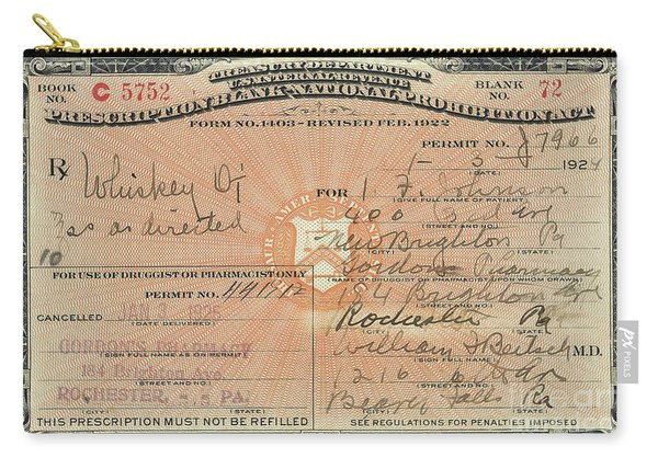 Prohibition Prescription For Whiskey Carry-all Pouch
