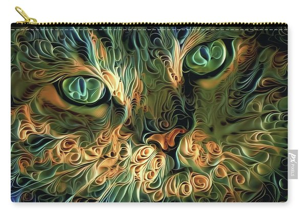 Psychedelic Tabby Cat Art Carry-all Pouch