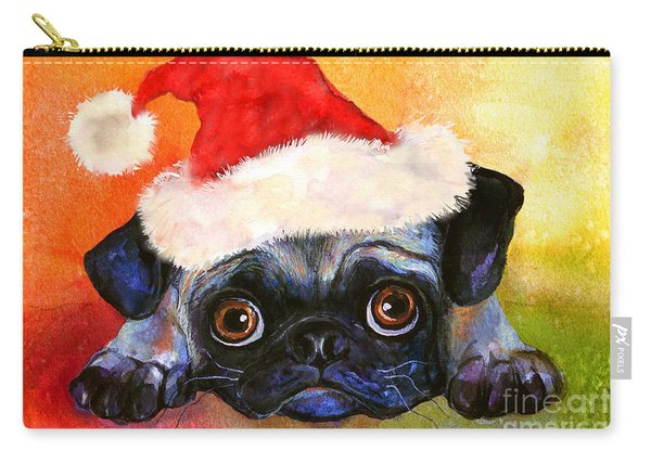 Pug Santa Portrait Carry-all Pouch