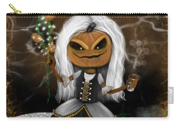 Carry-all Pouch featuring the painting Pumpkin Spice Latte Monster Fantasy Art by Raphael Lopez