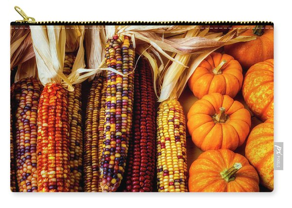 Pumpkins And Indian Corn Carry-all Pouch