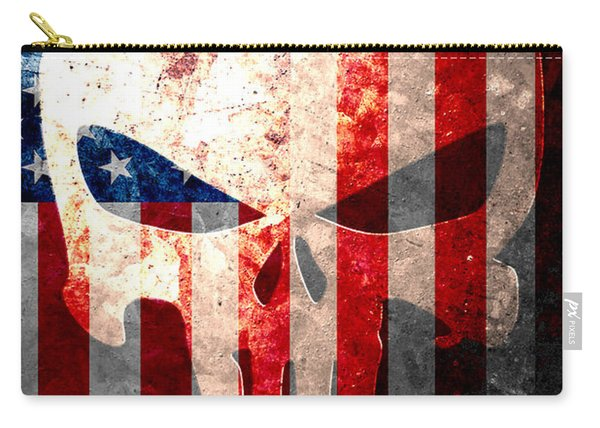 Punisher Themed Skull And American Flag On Distressed Metal Sheet Carry-all Pouch