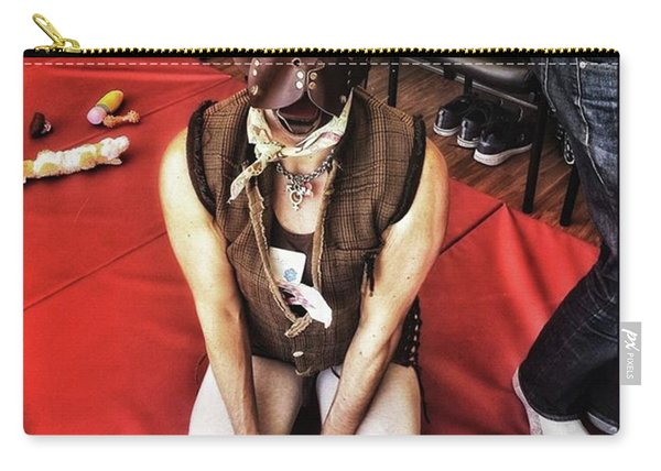 Carry-all Pouch featuring the photograph Puppy Play. Human Canine Training by Mr Photojimsf