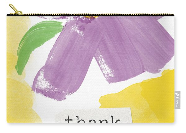 Purple Flower Thank You Card- Art By Linda Woods Carry-all Pouch