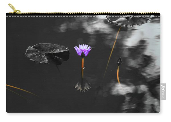 Purple Lily In Black And White Carry-all Pouch