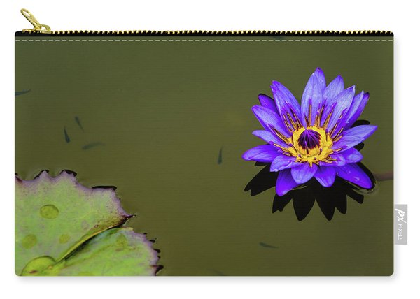 Purple Lily With Tiny Fish Carry-all Pouch