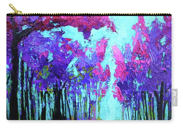 Purple Magenta, Forest, Modern Impressionist, Palette Knife Painting Carry-all Pouch