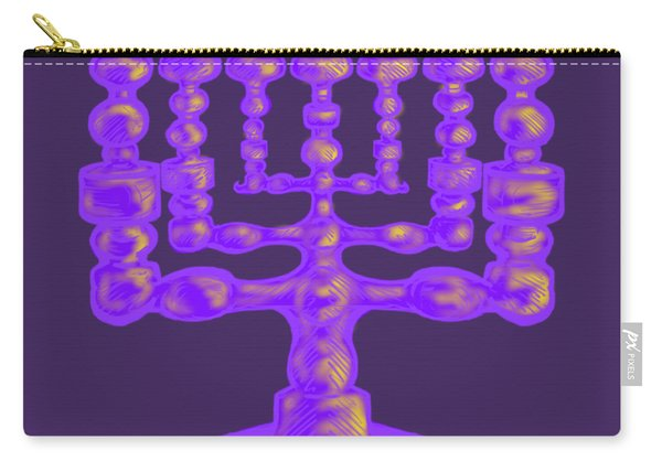Purple Menorah Flamed Carry-all Pouch