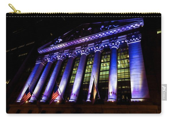 Purple New York Stock Exchange At Night - Impressions Of Manhattan Carry-all Pouch