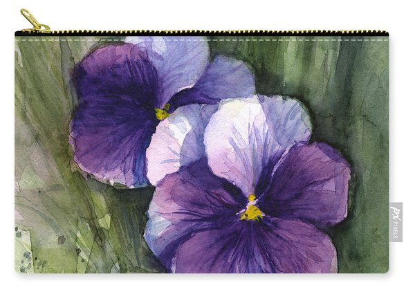 Purple Pansies Watercolor Carry-all Pouch