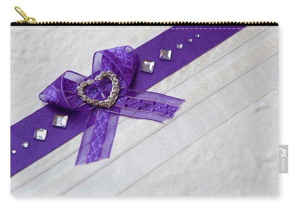 Purple Ribbon Heart Carry-all Pouch