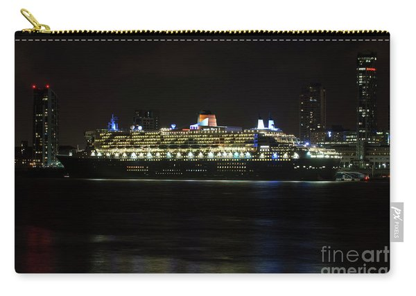 Queen Mary 2 At Night In Liverpool Carry-all Pouch
