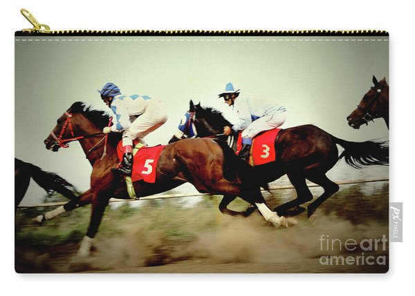 Racing Horses Neck To Neck In Competition Carry-all Pouch