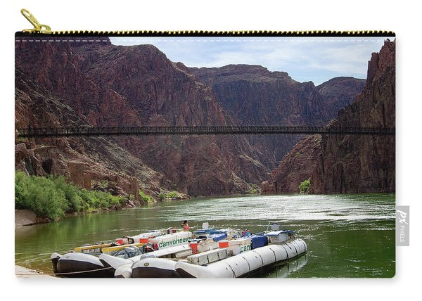 Rafts With Black Bridge In The Distance Carry-all Pouch
