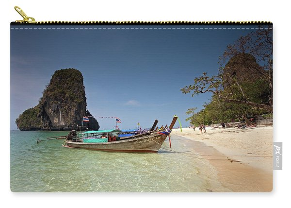 Railay Beach, Phra Nang Beach, Long-tail Boat And Cliff Carry-all Pouch