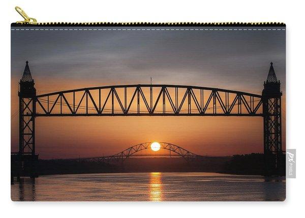 Railroad Bridge Framing The Bourne Bridge During A Sunrise Carry-all Pouch