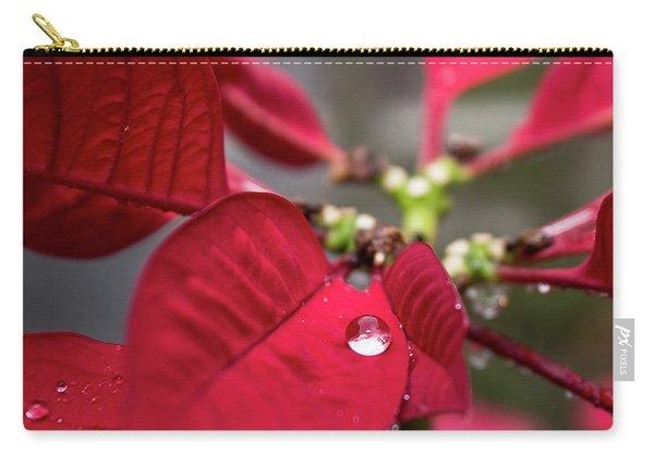 Rain Drop On A Poinsettia  Carry-all Pouch