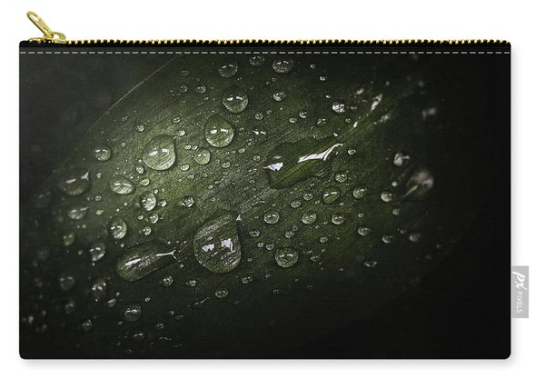 Rain Drops On Leaf Carry-all Pouch