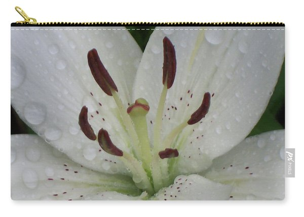 Rain Drops On Lily Carry-all Pouch