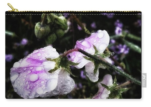 Carry-all Pouch featuring the photograph Rain Kissed Petals. This Flower Art by Mr Photojimsf