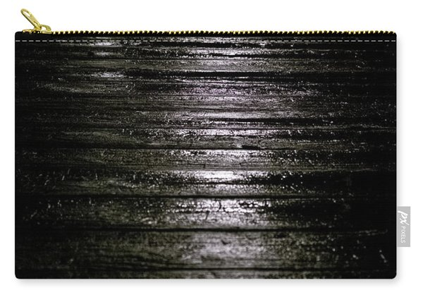 Carry-all Pouch featuring the photograph Rain On Wooden Pier by Mary Lee Dereske