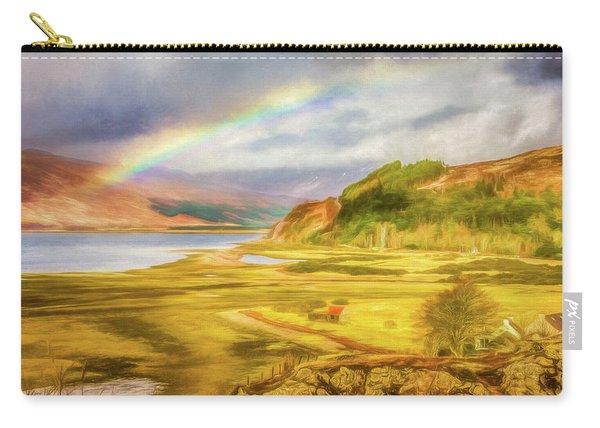 Carry-all Pouch featuring the photograph Painted Effect - Rainbow Across The Valley by Susan Leonard