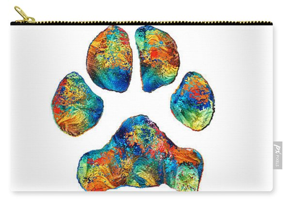 Rainbow Bridge Poem With Colorful Paw Print By Sharon Cummings Carry-all Pouch