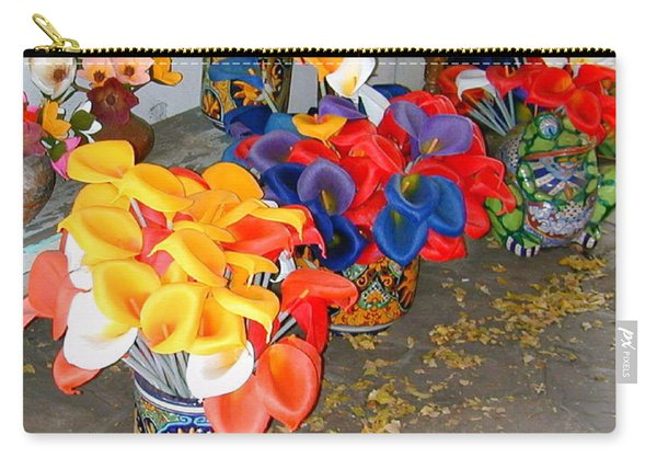 Carry-all Pouch featuring the photograph Rainbow Man Colorful Flowers And Chest by Joseph R Luciano