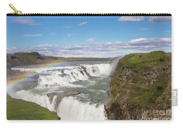 Rainbow Over The Gullfoss Waterfall In Iceland Carry-all Pouch