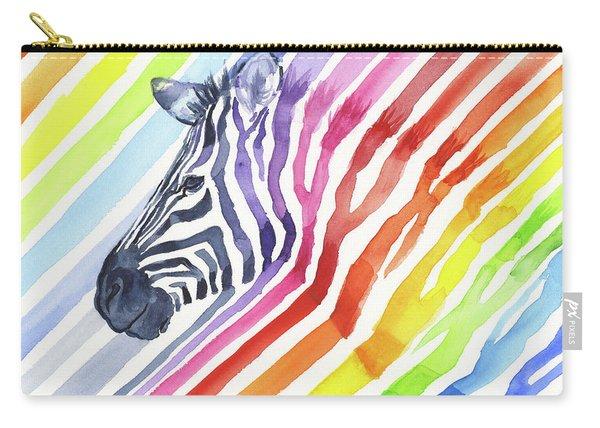 Rainbow Zebra Pattern Carry-all Pouch