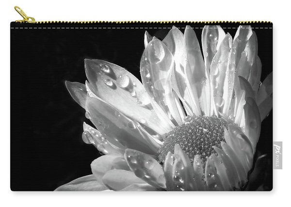 Raindrops On Daisy Black And White Carry-all Pouch