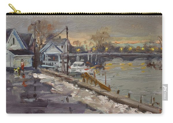 Rainy And Snowy Evening By Niagara River Carry-all Pouch