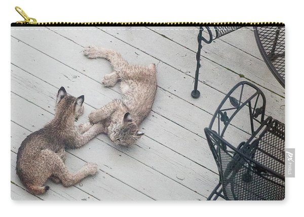 Carry-all Pouch featuring the photograph Wrestling Lynx by Tim Newton