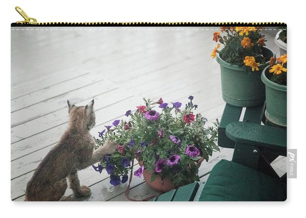 Carry-all Pouch featuring the photograph Swat The Petunias by Tim Newton