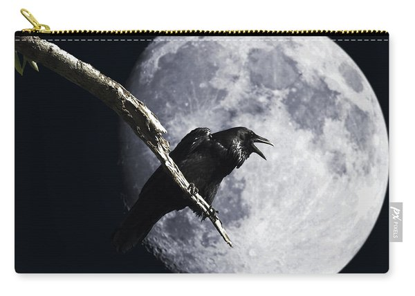 Raven Barking At The Moon Carry-all Pouch
