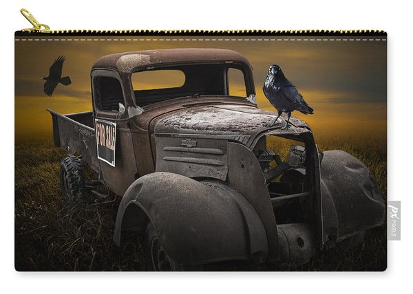Raven Hood Ornament On Old Vintage Chevy Pickup Truck Carry-all Pouch